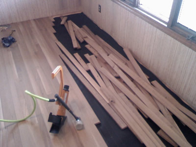 New installation of Rift and Quartered White Oak in a home in Marion