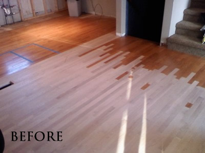 Laced-in new red oak to match existing floor