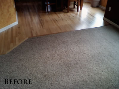 Existing Hickory floor with carpet