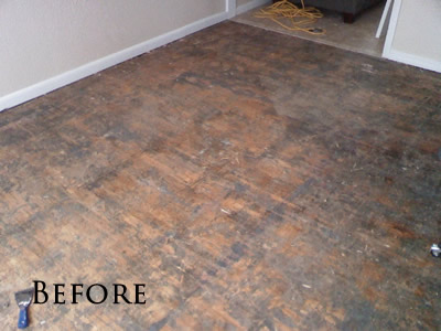 Removed Carpet And Glued Down Parquet Flooring
